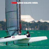 A Cat Class USA 311 sailing in Miami Sailing Week, day two.