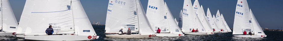 Star Class sailing at Bacardi Miami Sailing Week, day one.